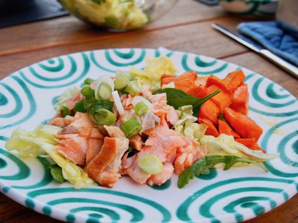 Pulled Lachs mit Süßkartoffel