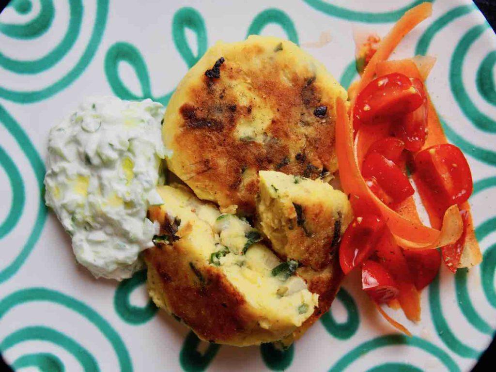 Kartoffel-Laibchen mit Mangold